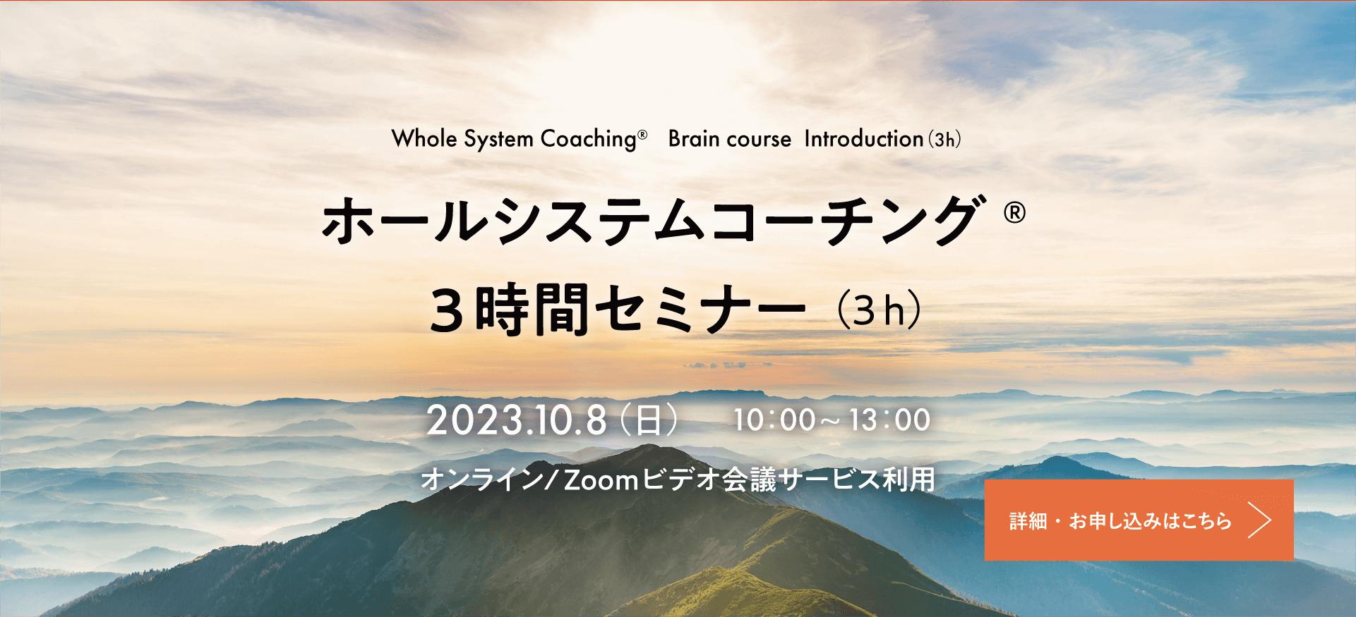 Whole System Coaching® Brain course  Introduction(3h)ホールシステムコーチング® 3時間セミナー(3h)2018.9.16 (日) 10:00~13:00@ エル・おおさか 705号室